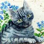 """Kitty in Blue Flowers"" by artcat"