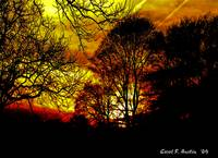 Blazing Red Fiery Sunset signed