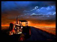 tractor on lonely road