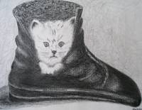 pencil cat in boot