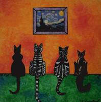my cats and starry night