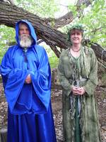 Wizard and Druid priestess in the woods