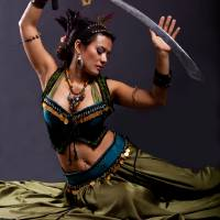 Bellydancer Sword Dance Art Prints & Posters by Karen Ilagan
