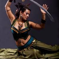 Bellydancer Sword Dance Art Prints & Posters by Karen Ilagan