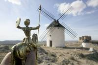 Don Quixote and Cervantes at La Mancha