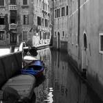"""Blue boat on a black and white canal"" by sylviacook"