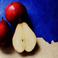 Pears on Blue Paper