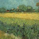 """View of Arles with Irises by Vincent Van Gogh"" by BlueMoonArts"
