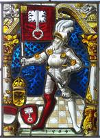 Stained glass in Sulkowski castle in Bielsko-Biała
