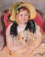Sara with Her Dog, in an Armchair