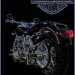 """Harley Davidson Motorcycle Line Drawing in Color"" by palmsrick"