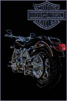 Harley Davidson Motorcycle Line Drawing in Color