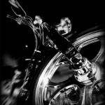 """Custom Chopper Mororcycle in Black and White"" by palmsrick"