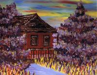 House in purple trees