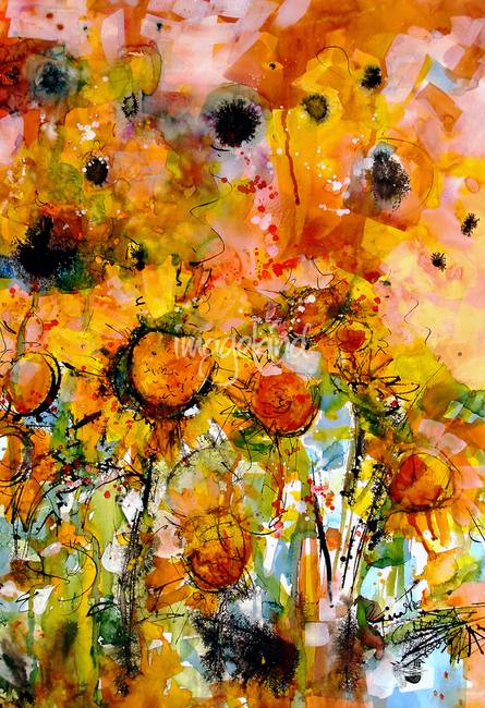 Watercolor Abstract Sunflower Abstract Sunflowers Watercolor