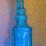 """Aqua Blue Glass Bottle with Yellow Daisy:JudyMaris"" by JudyMarisa"