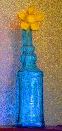 Aqua Blue Glass Bottle with Yellow Daisy:JudyMaris