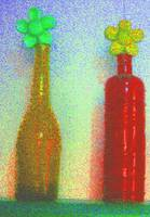 Amber and Red Glass Bottles with Daisies: JudyMari