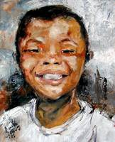 Boy Smiling Oil Painting by Ginette Callaway