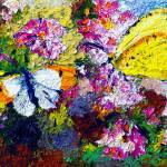 """Butterflies on Carnations Oil Painting by GInette"" by GinetteCallaway"
