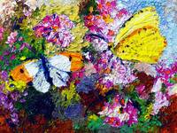 Butterflies on Carnations Oil Painting by GInette