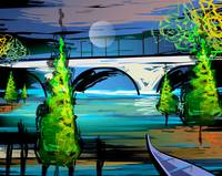 Digital painting of a bridge across the river.
