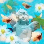 """Angel statue in the Garden Autumn"" by victoriasponge"