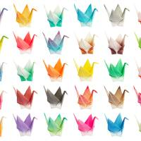 Origami birds chart Art Prints & Posters by Bobo Ling