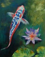 Shusui Koi and Water Lily