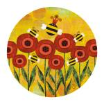 """""""Bees Over Poppies"""" by sandygrafik_arts"""