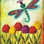 """Dragonfly Over Tulips"" by sandygrafik_arts"