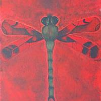 Red Dragonfly Art Prints & Posters by wendy burchett