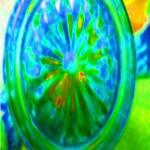 """Bottom of Green Glass Sugar Bowl 1 JudyMarisa"" by JudyMarisa"
