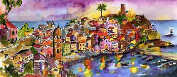 Vernazza At Night Watercolor Painting by Ginette C