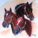 """Horse portraits,Secretariat ,Seattle Slew, Affirme"" by Texaslady"