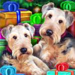 """Airedale Terrier Christmas Can We Open Them NOW?!"" by danesrus"