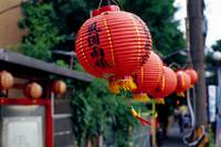 Red Chinese Lanterns Blowing in the Wind