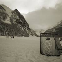 Lake Louise Hockey Rink Art Prints & Posters by Dennis Flood