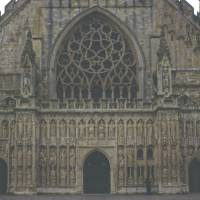 Exeter Cathedral, West Front, Mid-winter Art Prints & Posters by Priscilla Turner
