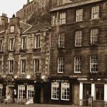 """The Grassmarket & Edinburgh Castle Aged"" by imagesbycadac"