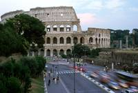 Roman Colosseum Traffic Blur