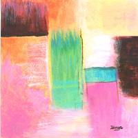 Abstract Landscape Art Painting Water Pink Orange
