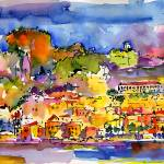 """Amalfi Summer Watercolor Painting by Ginette"" by GinetteCallaway"