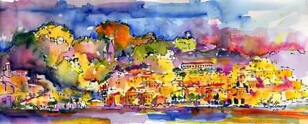 Amalfi Summer Watercolor Painting by Ginette