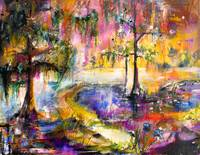 Okefenokee Sunset Magic Mixed Media Painting by Gi