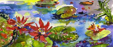 Lily Pond Watercolor by Ginette Callaway