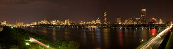 Panoramic of Boston as seen over The Charles River