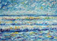 Ocean and Sunnset Waves and Sailing Paintings