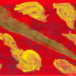 """Sword Against Red Background with Yellow Figures"" by spiritualartist"