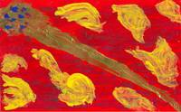 Sword Against Red Background with Yellow Figures